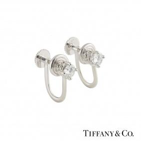Tiffany & Co. Platinum Diamond Earrings 0.66ct F/VS+